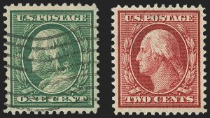 Sale Number 1148, Lot Number 107, One-Cent Green, Two-Cent Carmine (Scott 357-358)1c Green, 2c Carmine, Bluish (357-358), 1c Green, 2c Carmine, Bluish (357-358)