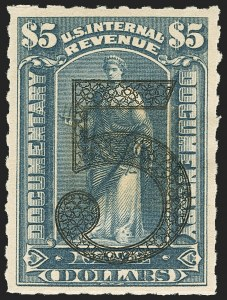 Sale Number 1149, Lot Number 211, Documentary$5.00 Green, Ornamental Numeral Surcharge (R192), $5.00 Green, Ornamental Numeral Surcharge (R192)