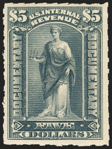 Sale Number 1149, Lot Number 212, Documentary$5.00 Green, Ornamental Numeral Surcharge Omitted (R192a). Mint N.H, $5.00 Green, Ornamental Numeral Surcharge Omitted (R192a). Mint N.H