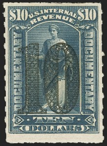Sale Number 1149, Lot Number 213, Documentary$10.00 Green, Ornamental Numeral Surcharge (R193), $10.00 Green, Ornamental Numeral Surcharge (R193)