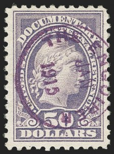 Sale Number 1149, Lot Number 215, Documentary$50.00 Violet, Series of 1914 (R223), $50.00 Violet, Series of 1914 (R223)