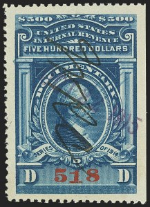Sale Number 1149, Lot Number 216, Documentary$500.00 Blue, Series of 1914 (R226), $500.00 Blue, Series of 1914 (R226)
