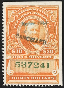 "Sale Number 1149, Lot Number 220, Documentary$30.00 Vermilion, ""Series 1940"" Handstamped Ovpt. (R282), $30.00 Vermilion, ""Series 1940"" Handstamped Ovpt. (R282)"