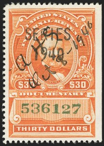 Sale Number 1149, Lot Number 221, Documentary$30.00 Series 1940, With Black Two-Line Handstamp in Larger Type (R282a), $30.00 Series 1940, With Black Two-Line Handstamp in Larger Type (R282a)
