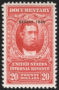 "Sale Number 1149, Lot Number 227, Red Documentary Issues up to Series 1952$20.00 Carmine, ""Series 1940"" Ovpt. (R305A), $20.00 Carmine, ""Series 1940"" Ovpt. (R305A)"