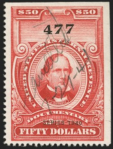 "Sale Number 1149, Lot Number 228, Red Documentary Issues up to Series 1952$50.00 Carmine, ""Series 1940"" Ovpt. (R306A), $50.00 Carmine, ""Series 1940"" Ovpt. (R306A)"