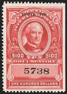 "Sale Number 1149, Lot Number 230, Red Documentary Issues up to Series 1952$100.00 Carmine, ""Series 1940"" Ovpt. (R308), $100.00 Carmine, ""Series 1940"" Ovpt. (R308)"