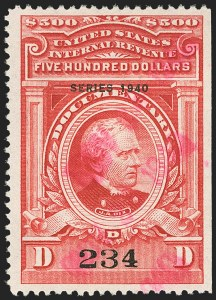 "Sale Number 1149, Lot Number 231, Red Documentary Issues up to Series 1952$500.00 Carmine, ""Series 1940"" Ovpt. (R309), $500.00 Carmine, ""Series 1940"" Ovpt. (R309)"