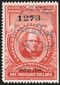 "Sale Number 1149, Lot Number 232, Red Documentary Issues up to Series 1952$1,000.00 Carmine, ""Series 1940"" Ovpt. (R310), $1,000.00 Carmine, ""Series 1940"" Ovpt. (R310)"