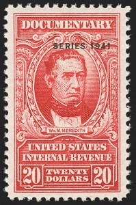 "Sale Number 1149, Lot Number 233, Red Documentary Issues up to Series 1952$20.00 Carmine, ""Series 1941"" Ovpt. (R329). Mint N.H, $20.00 Carmine, ""Series 1941"" Ovpt. (R329). Mint N.H"