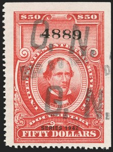 "Sale Number 1149, Lot Number 234, Red Documentary Issues up to Series 1952$50.00 Carmine, ""Series 1941"" Ovpt. (R331), $50.00 Carmine, ""Series 1941"" Ovpt. (R331)"