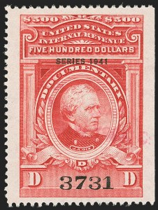 "Sale Number 1149, Lot Number 235, Red Documentary Issues up to Series 1952$500.00 Carmine, ""Series 1941"" Ovpt. (R334), $500.00 Carmine, ""Series 1941"" Ovpt. (R334)"