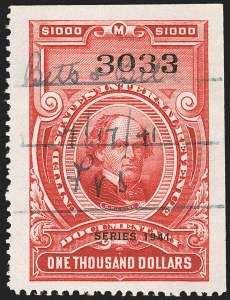 "Sale Number 1149, Lot Number 236, Red Documentary Issues up to Series 1952$1,000.00 Carmine, ""Series 1941"" Ovpt. (R335), $1,000.00 Carmine, ""Series 1941"" Ovpt. (R335)"