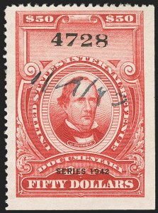 "Sale Number 1149, Lot Number 238, Red Documentary Issues up to Series 1952$50.00 Carmine, ""Series 1942"" Ovpt. (R356), $50.00 Carmine, ""Series 1942"" Ovpt. (R356)"