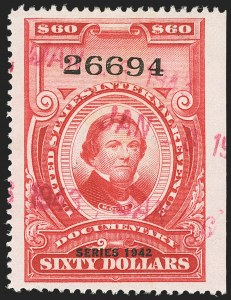 "Sale Number 1149, Lot Number 239, Red Documentary Issues up to Series 1952$60.00 Carmine, ""Series 1942"" Ovpt. (R357), $60.00 Carmine, ""Series 1942"" Ovpt. (R357)"