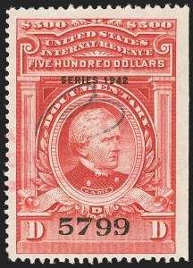 "Sale Number 1149, Lot Number 240, Red Documentary Issues up to Series 1952$500.00 Carmine, ""Series 1942"" Ovpt. (R359), $500.00 Carmine, ""Series 1942"" Ovpt. (R359)"