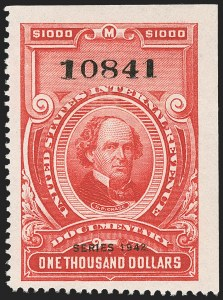 "Sale Number 1149, Lot Number 241, Red Documentary Issues up to Series 1952$1,000.00 Carmine, ""Series 1942"" Ovpt. (R360), $1,000.00 Carmine, ""Series 1942"" Ovpt. (R360)"