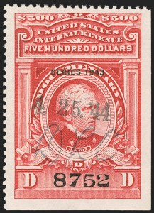 "Sale Number 1149, Lot Number 242, Red Documentary Issues up to Series 1952$500.00 Carmine, ""Series 1943"" Ovpt. (R384), $500.00 Carmine, ""Series 1943"" Ovpt. (R384)"