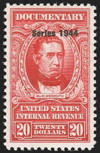 "Sale Number 1149, Lot Number 243, Red Documentary Issues up to Series 1952$20.00 Carmine, ""Series 1944"" Ovpt. (R404), $20.00 Carmine, ""Series 1944"" Ovpt. (R404)"