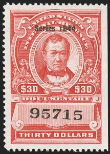 "Sale Number 1149, Lot Number 244, Red Documentary Issues up to Series 1952$30.00 Carmine, ""Series 1944"" Ovpt. (R405), $30.00 Carmine, ""Series 1944"" Ovpt. (R405)"