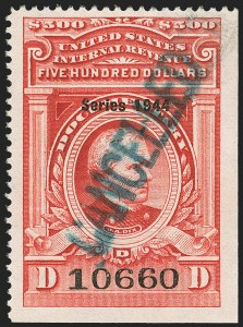 "Sale Number 1149, Lot Number 245, Red Documentary Issues up to Series 1952$500.00 Carmine, ""Series 1944"" Ovpt. (R409), $500.00 Carmine, ""Series 1944"" Ovpt. (R409)"