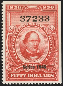 "Sale Number 1149, Lot Number 247, Red Documentary Issues up to Series 1952$50.00 Carmine, ""Series 1945"" Ovpt. (R431), $50.00 Carmine, ""Series 1945"" Ovpt. (R431)"
