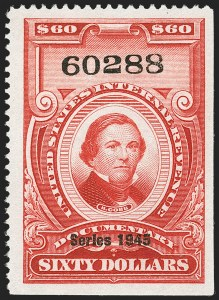 "Sale Number 1149, Lot Number 248, Red Documentary Issues up to Series 1952$60.00 Carmine, ""Series 1945"" Ovpt. (R432), $60.00 Carmine, ""Series 1945"" Ovpt. (R432)"