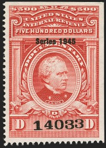 "Sale Number 1149, Lot Number 249, Red Documentary Issues up to Series 1952$500.00 Carmine, ""Series 1945"" Ovpt. (R434), $500.00 Carmine, ""Series 1945"" Ovpt. (R434)"