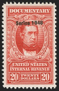 "Sale Number 1149, Lot Number 251, Red Documentary Issues up to Series 1952$20.00 Carmine, ""Series 1948"" Ovpt. (R504), $20.00 Carmine, ""Series 1948"" Ovpt. (R504)"