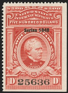 "Sale Number 1149, Lot Number 252, Red Documentary Issues up to Series 1952$500.00 Carmine, ""Series 1948"" Ovpt. (R509), $500.00 Carmine, ""Series 1948"" Ovpt. (R509)"
