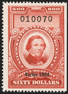 "Sale Number 1149, Lot Number 254, Red Documentary Issues up to Series 1952$60.00 Carmine, ""Series 1952"" Ovpt. (R613), $60.00 Carmine, ""Series 1952"" Ovpt. (R613)"