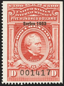 "Sale Number 1149, Lot Number 259, Red Documentary Issues: Series 1953-1958, Balance$500.00 Carmine, ""Series 1953"" Ovpt. (R649), $500.00 Carmine, ""Series 1953"" Ovpt. (R649)"
