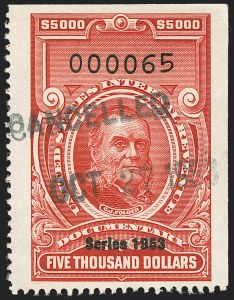 "Sale Number 1149, Lot Number 262, Red Documentary Issues: Series 1953-1958, Balance$5,000.00 Carmine, ""Series 1953"" Ovpt. (R652), $5,000.00 Carmine, ""Series 1953"" Ovpt. (R652)"