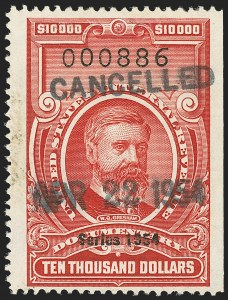 "Sale Number 1149, Lot Number 266, Red Documentary Issues: Series 1953-1958, Balance$10,000.00 Carmine, ""Series 1954"" Ovpt. (R687), $10,000.00 Carmine, ""Series 1954"" Ovpt. (R687)"