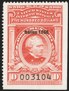"Sale Number 1149, Lot Number 270, Red Documentary Issues: Series 1953-1958, Balance$500.00 Carmine, ""Series 1956"" Ovpt. (R701), $500.00 Carmine, ""Series 1956"" Ovpt. (R701)"