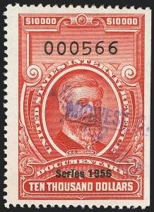 "Sale Number 1149, Lot Number 273, Red Documentary Issues: Series 1953-1958, Balance$10,000.00 Carmine, ""Series 1956"" Ovpt. (R705), $10,000.00 Carmine, ""Series 1956"" Ovpt. (R705)"