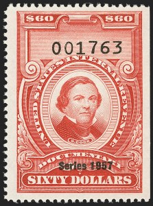 "Sale Number 1149, Lot Number 274, Red Documentary Issues: Series 1953-1958, Balance$60.00 Carmine, ""Series 1957"" Ovpt. (R708), $60.00 Carmine, ""Series 1957"" Ovpt. (R708)"