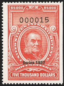 "Sale Number 1149, Lot Number 276, Red Documentary Issues: Series 1953-1958, Balance$5,000.00 Carmine, ""Series 1957"" Ovpt. (R713), $5,000.00 Carmine, ""Series 1957"" Ovpt. (R713)"