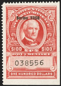 "Sale Number 1149, Lot Number 280, Red Documentary Issues: Series 1953-1958, Balance$100.00 Carmine, ""Series 1958"" Ovpt. (R718), $100.00 Carmine, ""Series 1958"" Ovpt. (R718)"