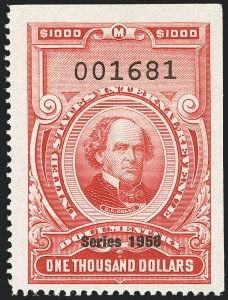 "Sale Number 1149, Lot Number 281, Red Documentary Issues: Series 1953-1958, Balance$1,000.00 Carmine, ""Series 1958"" Ovpt. (R720), $1,000.00 Carmine, ""Series 1958"" Ovpt. (R720)"