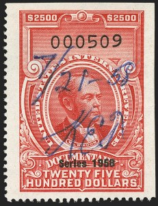 "Sale Number 1149, Lot Number 282, Red Documentary Issues: Series 1953-1958, Balance$2,500.00 Carmine, ""Series 1958"" Ovpt. (R721), $2,500.00 Carmine, ""Series 1958"" Ovpt. (R721)"