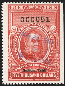 "Sale Number 1149, Lot Number 283, Red Documentary Issues: Series 1953-1958, Balance$5,000.00 Carmine, ""Series 1958"" Ovpt. (R722), $5,000.00 Carmine, ""Series 1958"" Ovpt. (R722)"