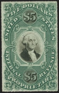 Sale Number 1149, Lot Number 289, Proprietary - Violet and Green Papers$5.00 Green & Black on Violet Paper, Proprietary (RB10a), $5.00 Green & Black on Violet Paper, Proprietary (RB10a)