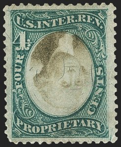 Sale Number 1149, Lot Number 298, Proprietary Inverts4c Green & Black on Violet Paper, Proprietary, Center Inverted (RB4c), 4c Green & Black on Violet Paper, Proprietary, Center Inverted (RB4c)