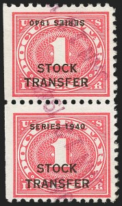 "Sale Number 1149, Lot Number 313, Stock Transfer1c Rose Pink, ""Series 1940"" Inverted Ovpt. (RD42a), 1c Rose Pink, ""Series 1940"" Inverted Ovpt. (RD42a)"