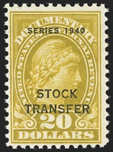 Sale Number 1149, Lot Number 316, Stock Transfer$20.00 Olive Bister, Series 1940, Stock Transfer (RD60), $20.00 Olive Bister, Series 1940, Stock Transfer (RD60)