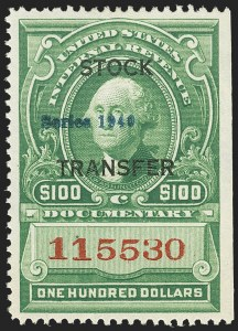 "Sale Number 1149, Lot Number 320, Stock Transfer$100.00 Green, Handstamped ""Series 1940"" Ovpt., Stock Transfer (RD64), $100.00 Green, Handstamped ""Series 1940"" Ovpt., Stock Transfer (RD64)"