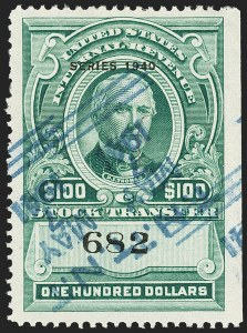 "Sale Number 1149, Lot Number 328, Green Stock Transfer: 1940-1942 Ovpts.$100.00 Bright Green, ""Series 1940"" Ovpt., Stock Transfer (RD89), $100.00 Bright Green, ""Series 1940"" Ovpt., Stock Transfer (RD89)"