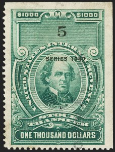 Sale Number 1149, Lot Number 330, Green Stock Transfer: 1940-1942 Ovpts.$1,000.00 Bright Green, Series 1940 (RD91), $1,000.00 Bright Green, Series 1940 (RD91)