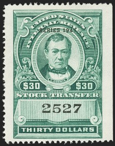 "Sale Number 1149, Lot Number 332, Green Stock Transfer: 1940-1942 Ovpts.$30.00 Bright Green, ""Series 1941"" Ovpt., Stock Transfer (RD111), $30.00 Bright Green, ""Series 1941"" Ovpt., Stock Transfer (RD111)"